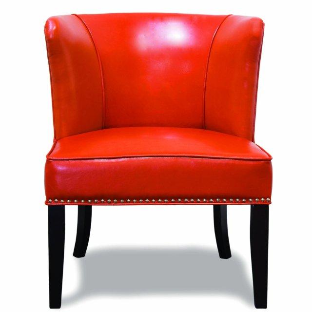 582- Orange Faux Leather Contemporary Living Room 2 Pcs ...