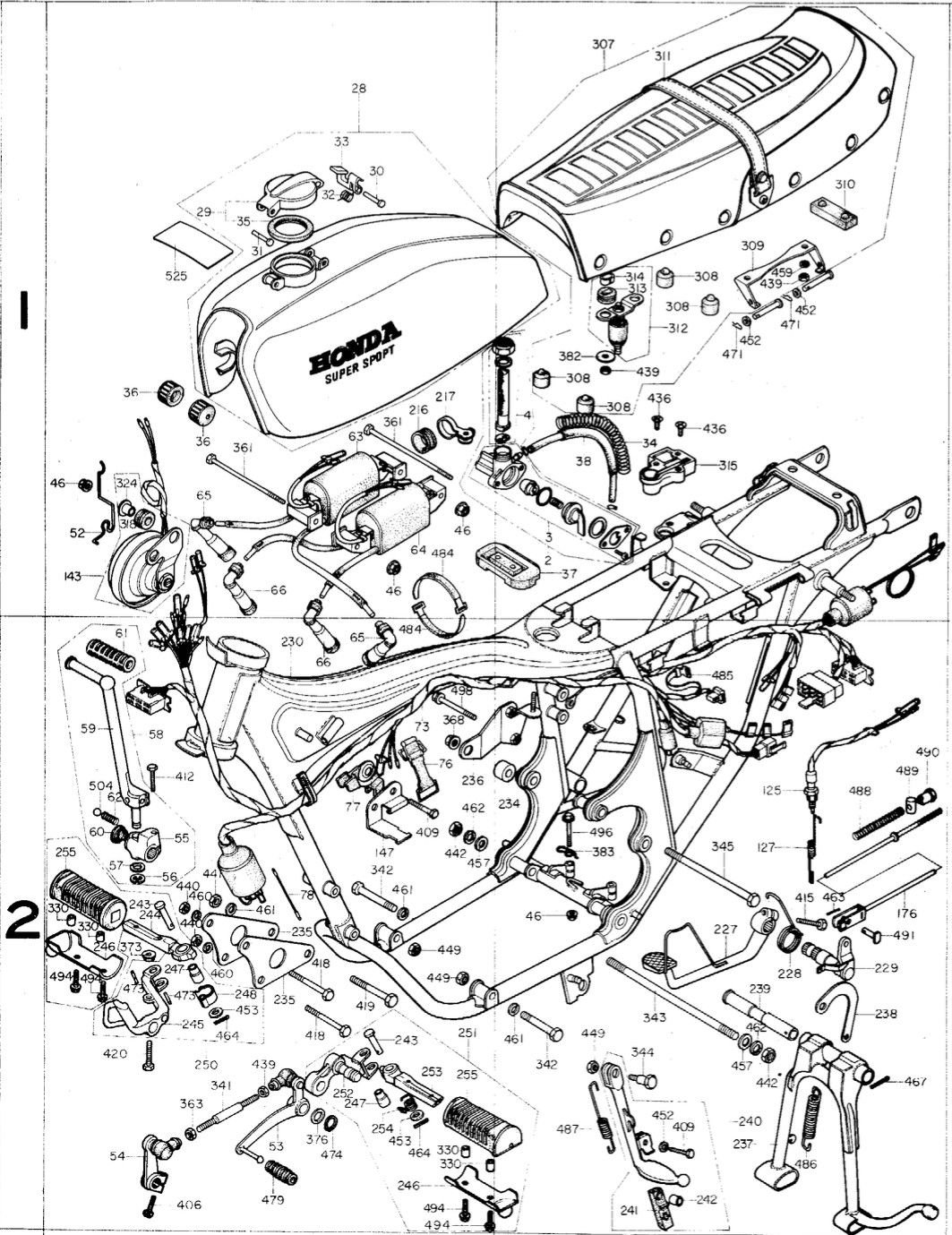 Honda Cb400f Ss Xray Parts Specifications