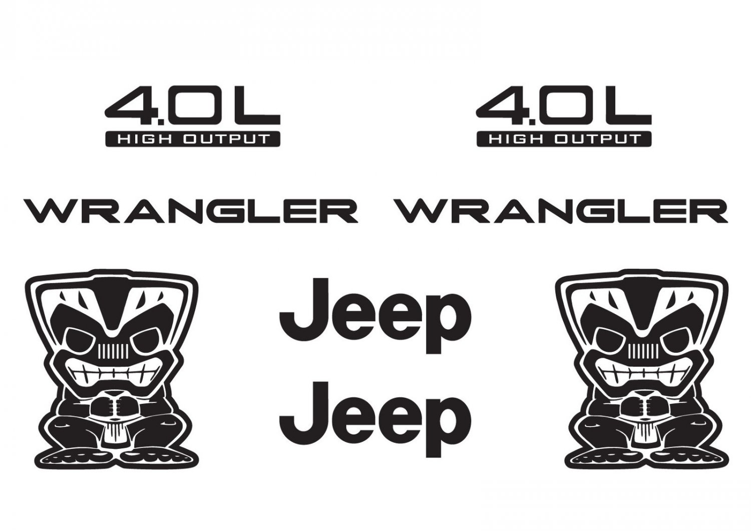Jeep Wrangler Tiki Bob Refresh Kit Vinyl Sticker Decal 4x4