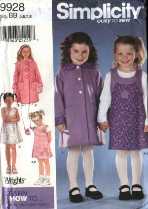 Simplicity Sewing Pattern 9928 Girls Size 5-8 Easy Winter Coat Jumper Pullover Knit Top