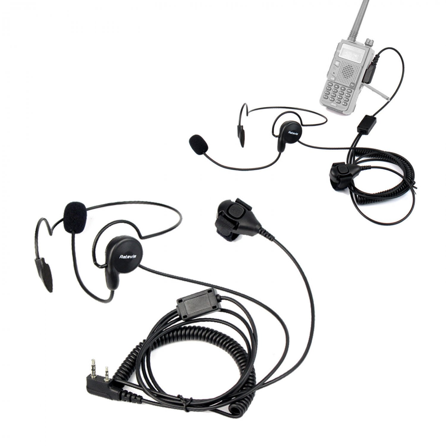 2x Finger Ptt Headset Earpiece Mic For Retevis H777 Rt 5r