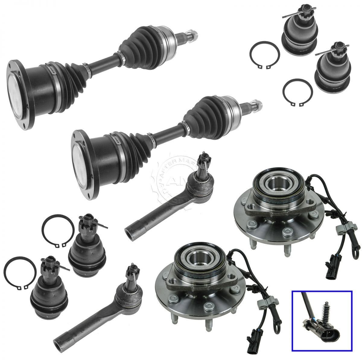 Hub Assembly Axle Ball Joint Tie Rod End Kit Set Of 10 For