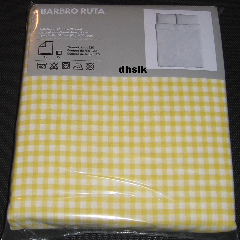 IKEA BARBRO RUTA Full QUEEN Duvet COVER Pillowcases Set YELLOW Checked Gingham