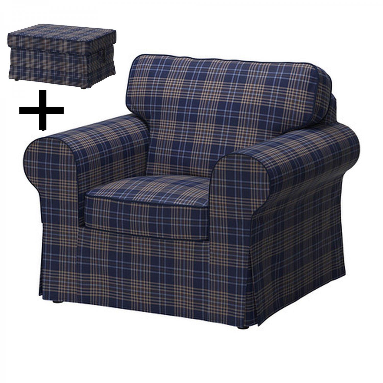 IKEA EKTORP Armchair And Footstool COVER Chair Ottoman