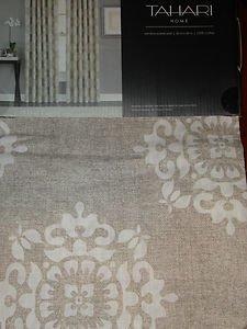 TAHARI Tan Brown White DAMASK Window Panels Drapes Set 2 NEW 50 X 84 Medallion
