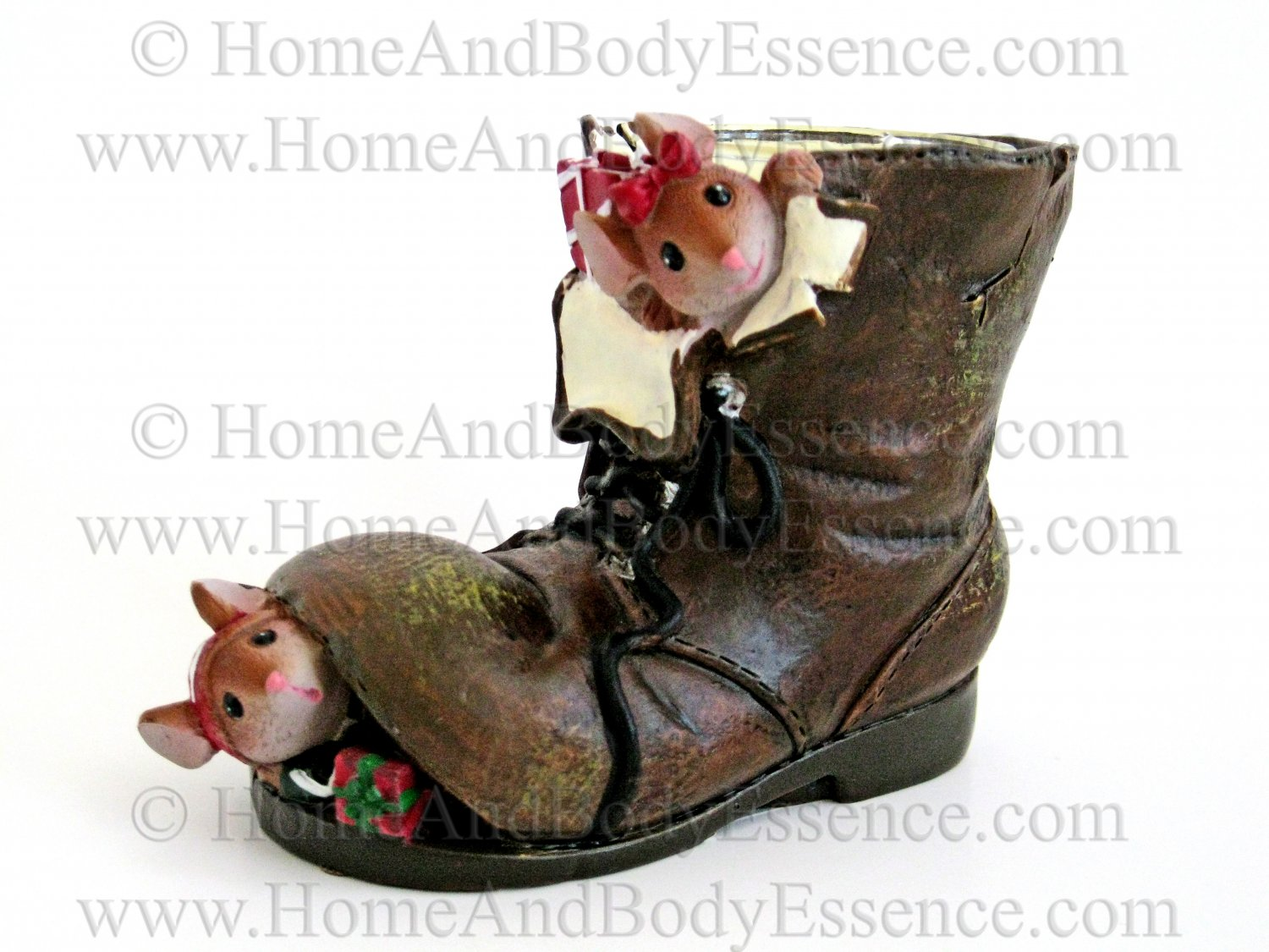 Yankee Candle Mice In Boot Tea Light Holder Mouse Brown