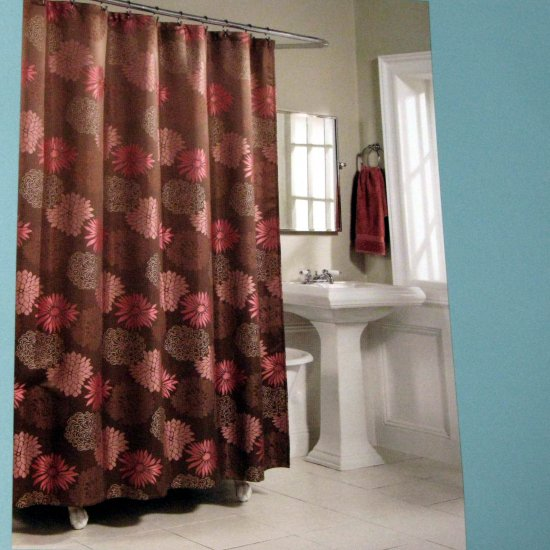 Kohls MARIANA Brown Pink Fabric Shower Curtain By Home Classics