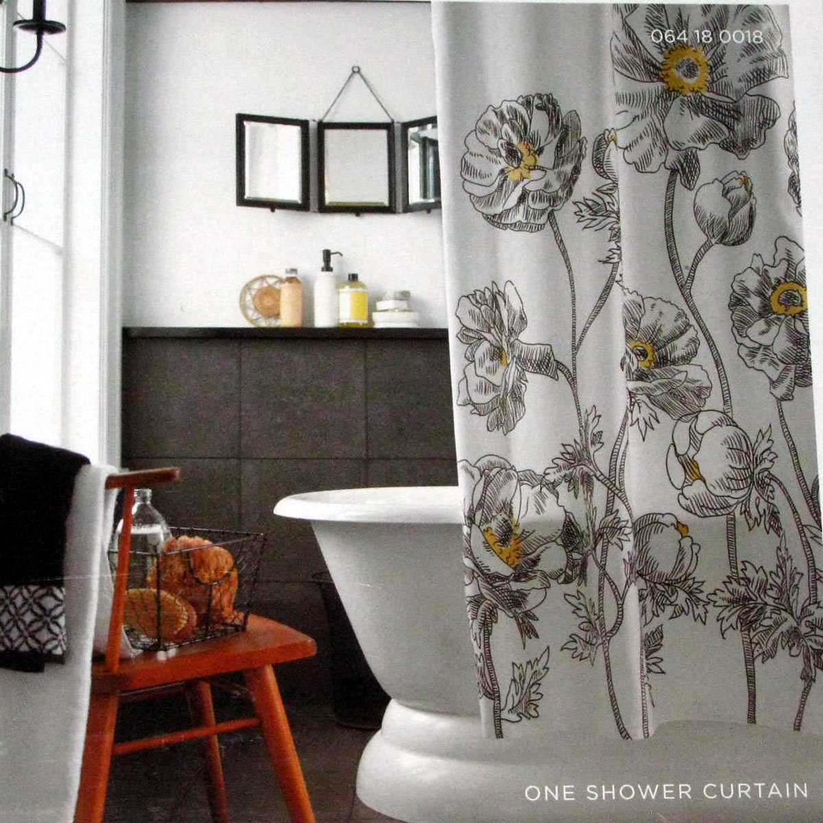 target home yellow sketch floral black