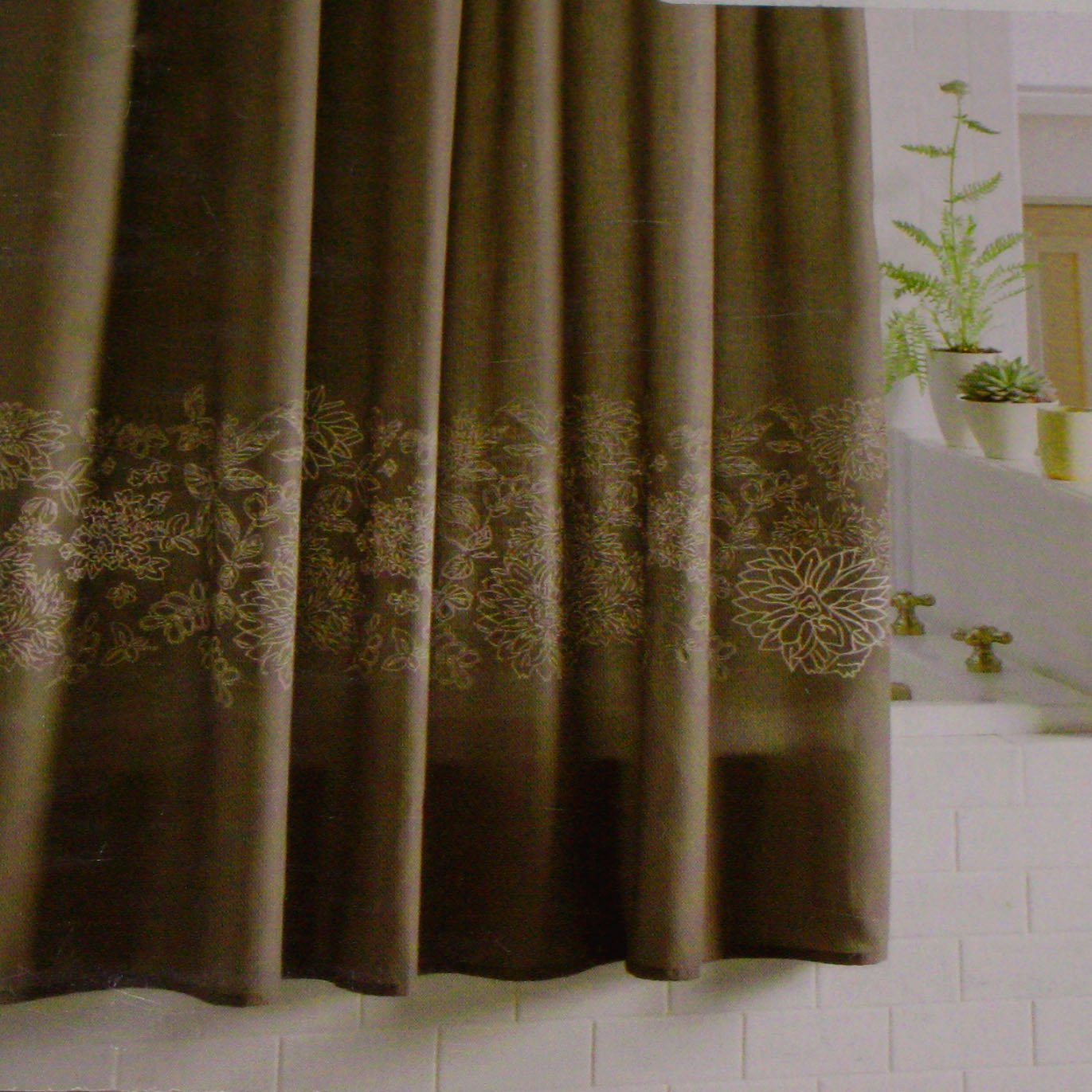 Threshold Embroidered Floral Birch Taupe Brown Fabric Shower