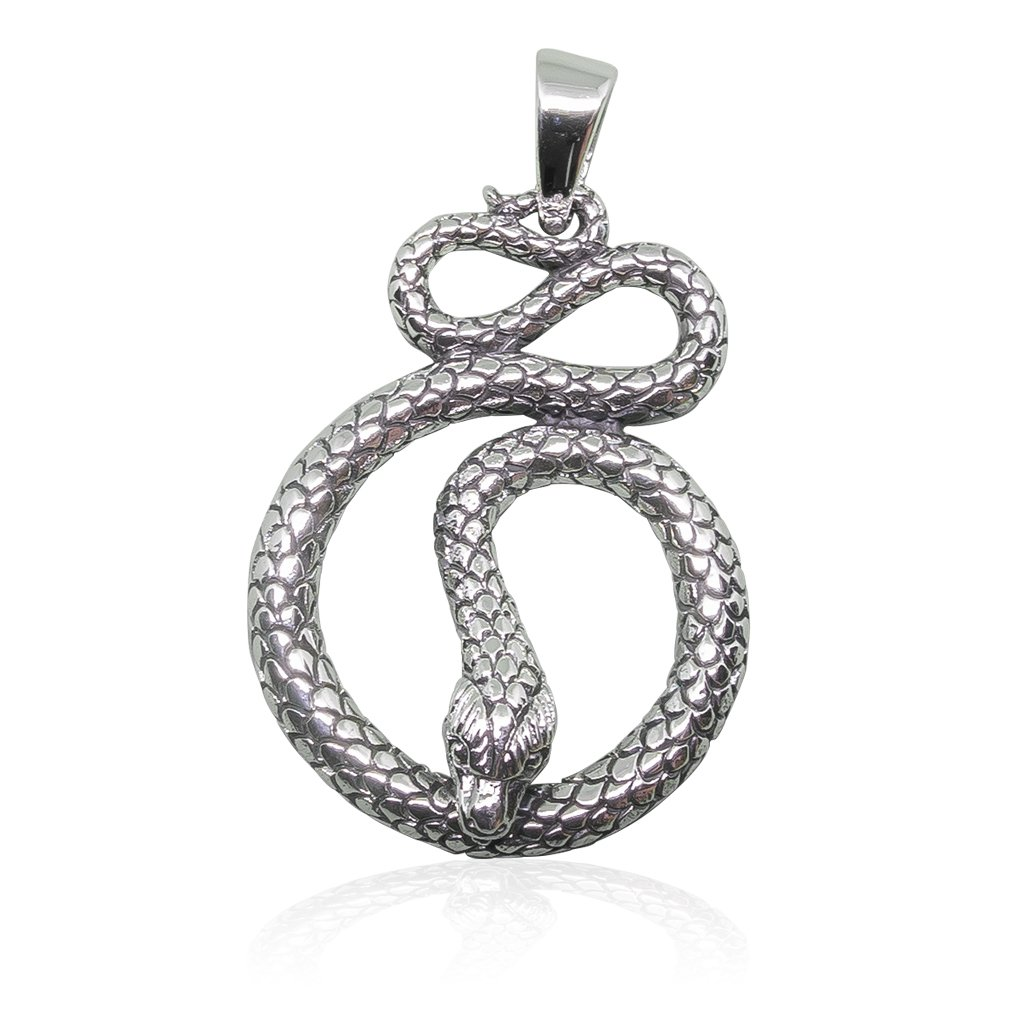 925 Sterling Silver Detailed Cobra Snake Infinity Serpent