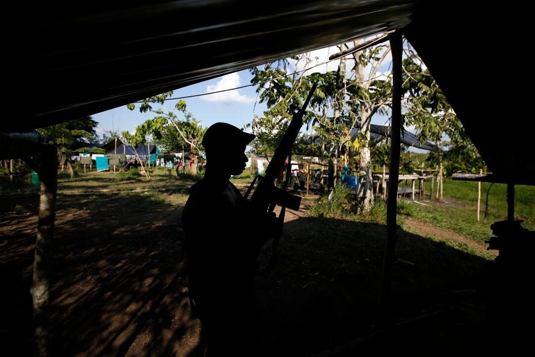 Archive image.  A fighter from the Revolutionary Armed Forces of Colombia, FARC, stands guard at a camp in the Putumayo department, southwestern Colombia, on Tuesday, February 28, 2017.