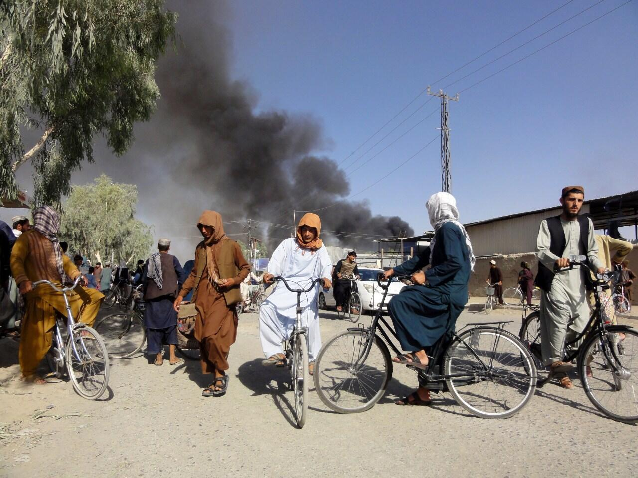 Smoke rises after clashes between the Taliban and Afghan security personnel, in Kandahar, southwest of Kabul in Afghanistan, on August 12, 2021.