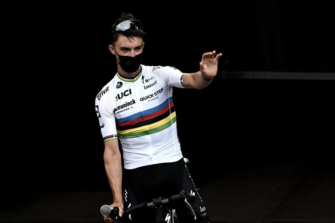 Deceuninck team leader Julian Alaphilippe during the Tour de France teams presentation on June 24, 2021 in Brest.