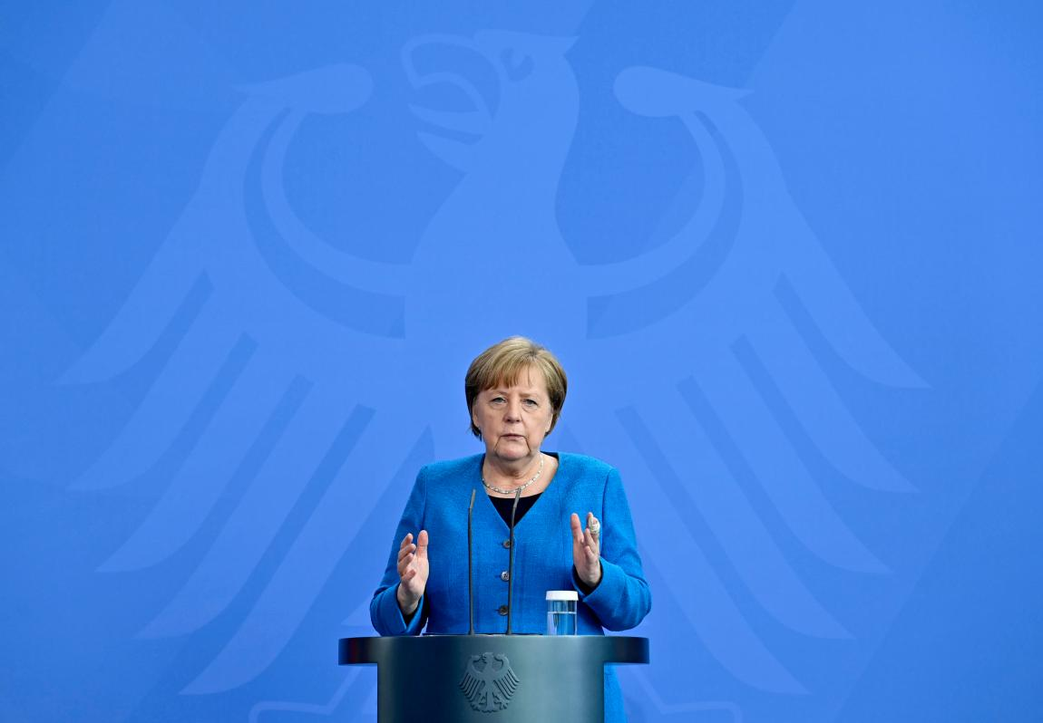 German Chancellor Angela Merkel attends a press conference after the informal EU summit and the EU-China summit in Berlin on May 8, 2021.