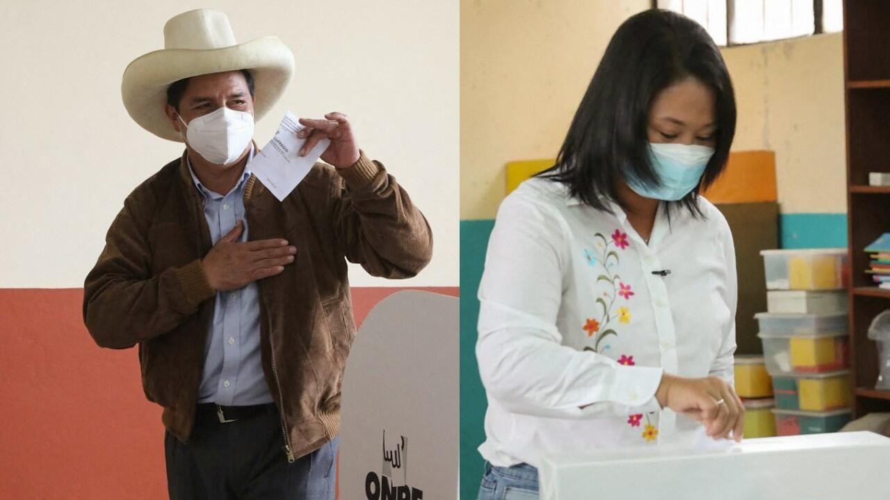 File-Peru Libre candidate, Pedro Castillo, cast his vote in the city of Tacabamba (left) / The candidate of Fuerza Popular, Keiko Fujimori, voted in the city of Lima.