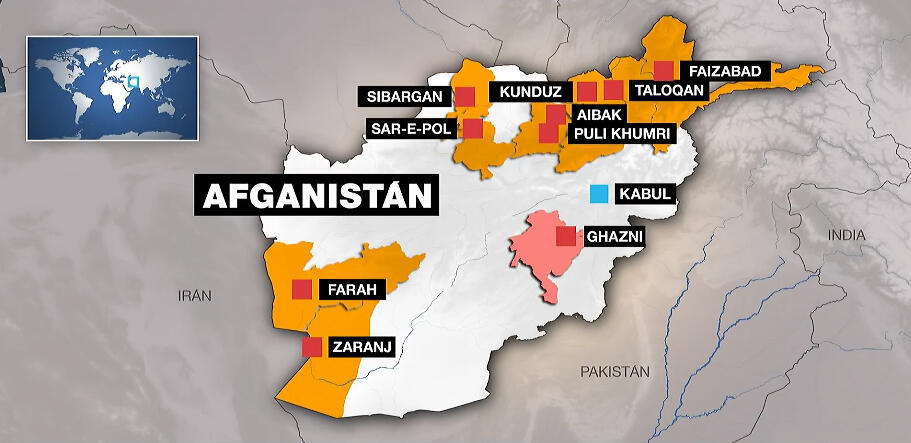 These are the 10 provincial capitals taken by the Taliban in less than a week in Afghanistan.  The extremist group is now approaching Kabul, the capital.