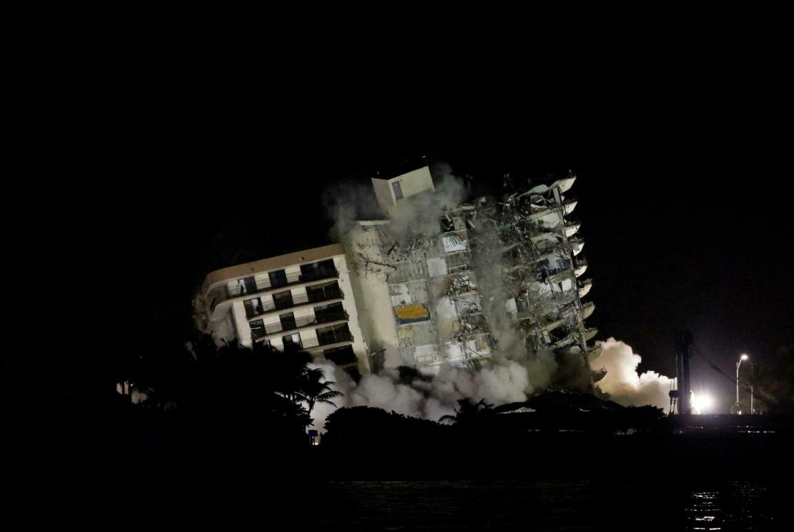 The remainder of the collapsed building in Surfside, Florida, was demolished on the night of July 4-5, 2021.
