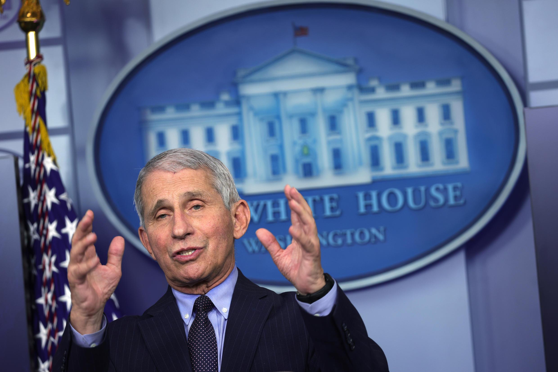 El científico Anthony Fauci dio una conferencia de prensa en la Casa Blanca el 21 de enero de 2021.