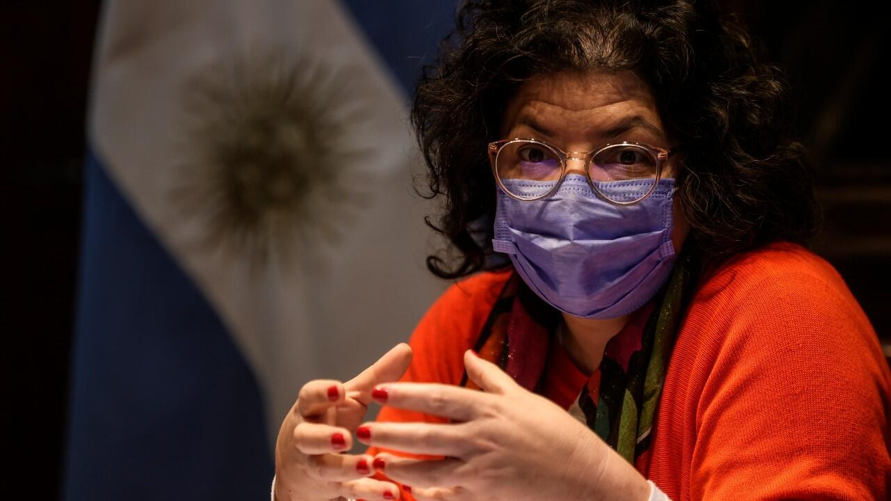 Argentina's Health Minister, Carla Vizzotti, meets with the international press to discuss the pandemic in the country in Buenos Aires, Argentina, on July 1, 2021.