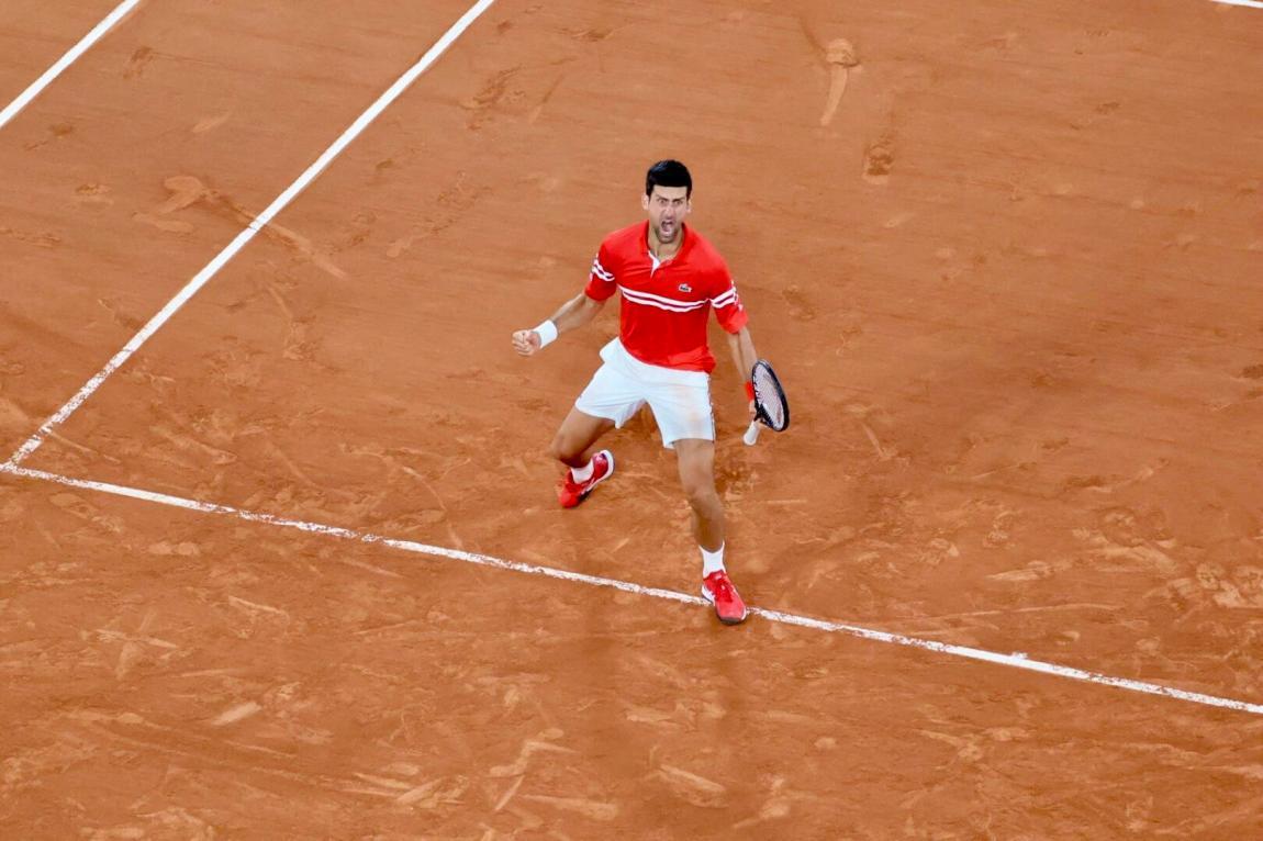 Novak Djokovic and his cry of joy after defeating Matteo Berrettini.