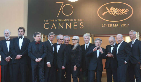 Find the woman: Jane Campion, the only woman to win the Palme d'Or at the Cannes Film Festival, on the catwalk alongside other award-winning filmmakers in the past.