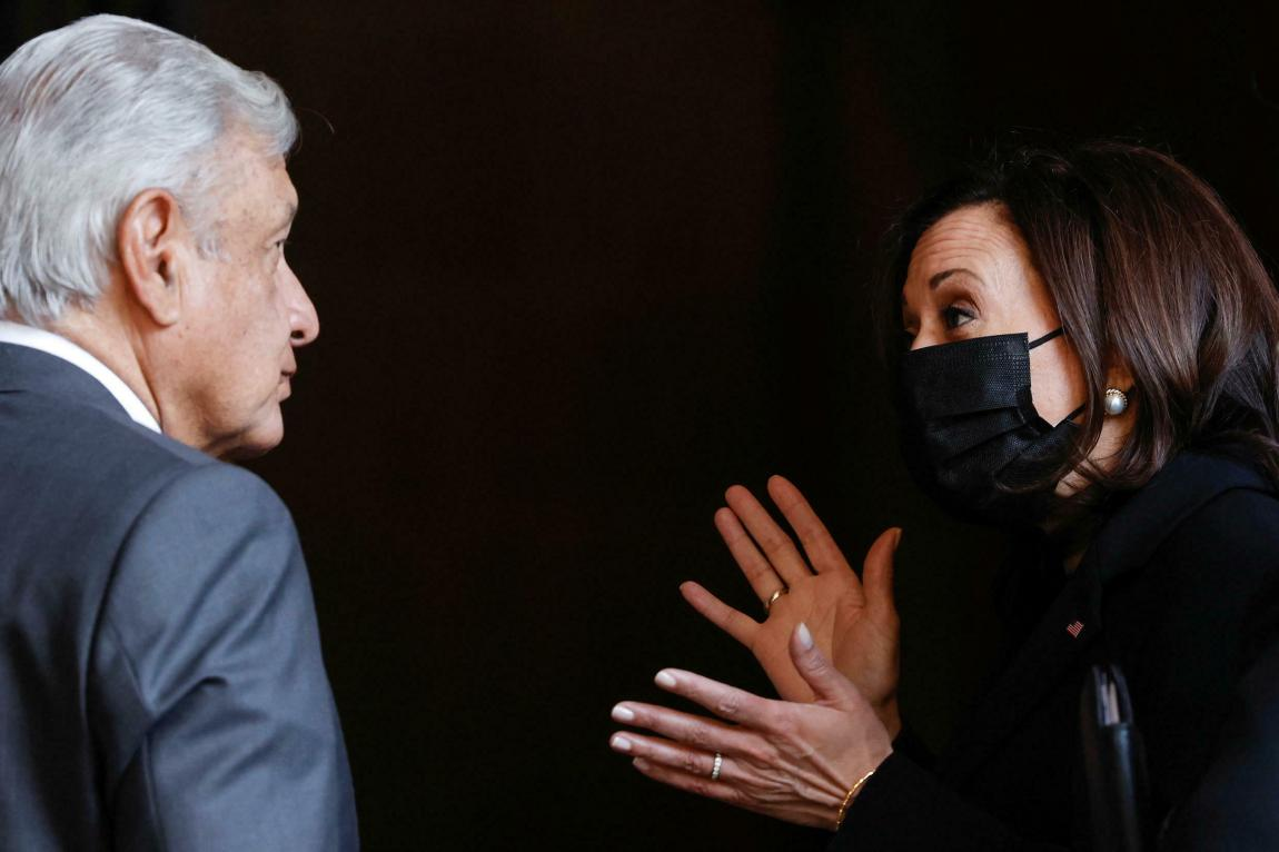 The president of Mexico, Andrés Manuel López Obrador, and the vice president of the United States, Kamala Harris, talk after the signing of a Memorandum of Understanding between the United States and Mexico to establish a strategic alliance on development programs in the Northern Triangle, in the National Palace in Mexico City, Mexico, on June 8, 2021.