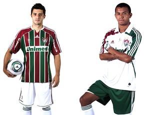 jogadores apresentam novo uniforme do Fluminense (Foto: Divulgação)