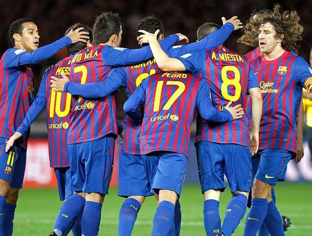 Barcelona comemora gol contra o Al Sadd (Foto: Reuters)