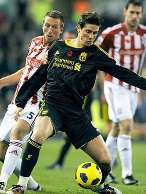 Fernando Torres na partida do Liverpool contra o Stoke City
