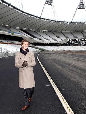 David Beckham no estádio olímpico de Londres