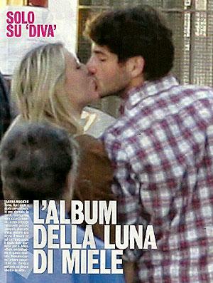 Pato dá beijo em Barbara Berlusconi reprodução (Foto: Reprodução)