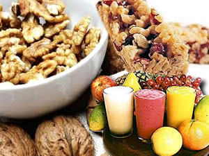 Frutas, barras de cereal e sucos (Foto: Arte/TVCA)