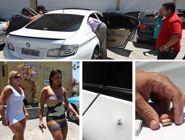 MONTAGEM - CARRO ADRIANO MENINA BALEADA BARRA DA TIJUCA (Foto: Montagem sobre fotos da EFE e de Marcos de Paula / Agência Estado)