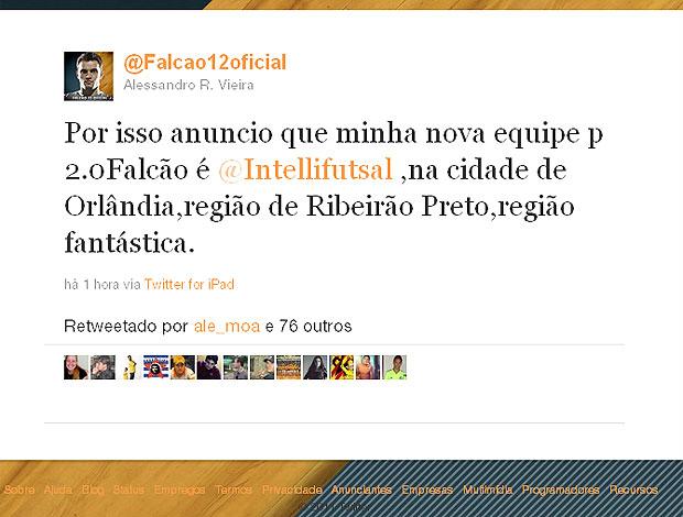 Falcão anuncia seu novo time de futsal (Foto: Reprodução / Twitter)