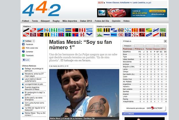 Matías Messi, irmão de Lionel tatua rosto do camisa 10 do Barça (Foto: Reprodução Perfil.com)