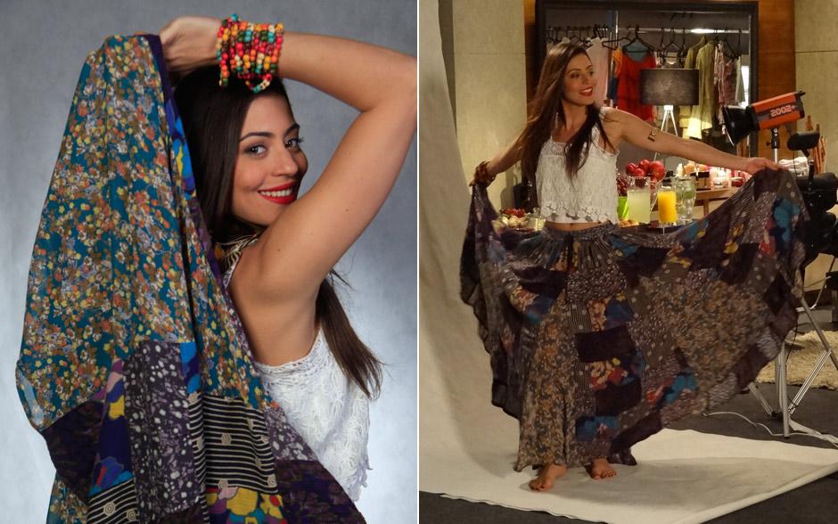 Jacira é pura sensualidade com o traje típico do lundu: saia longa estampada e blusinha curta de renda
