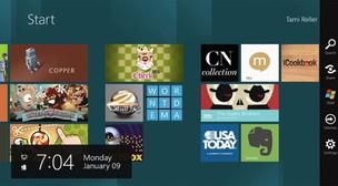 Barra da direita na tela do Windows 8 aparece quando usuário faz movimento com o dedo. Ela possui atalhos para outros recursos do sistema operacional (Foto: Divulgação)