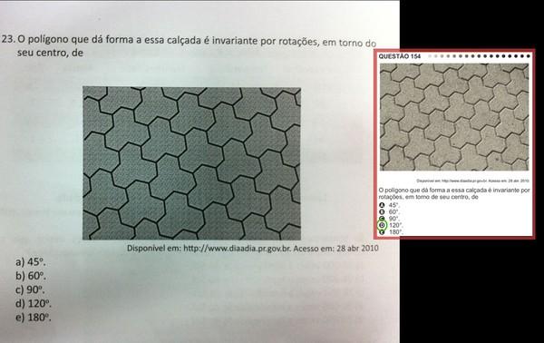 Matemática - questão 154 da prova amarela. Em destaque, a mesma questão na apostila do Enem (Foto: Reprodução)