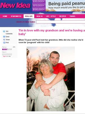 Phil Baile abraça sua avó e amante, Pearl Carte