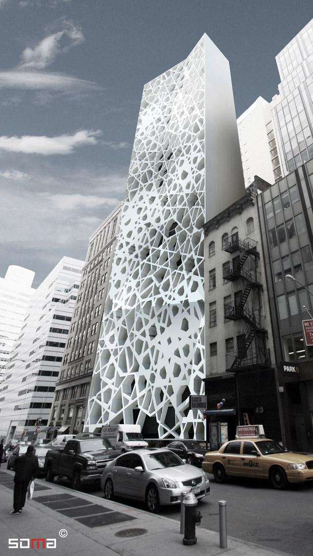 Concepção artística feita pelo escritório de arquitetura SOMA mostra como seriam a mesquita e o centro comunitário propostos para a região do Marco Zero, em Nova York.