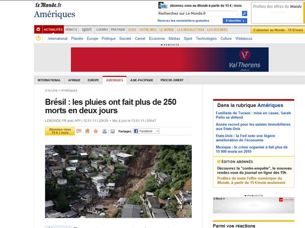 O francês 'Le Monde' destaca as enchentes em sua página principal e fala que o balanço de mortos 'não para de crescer'.