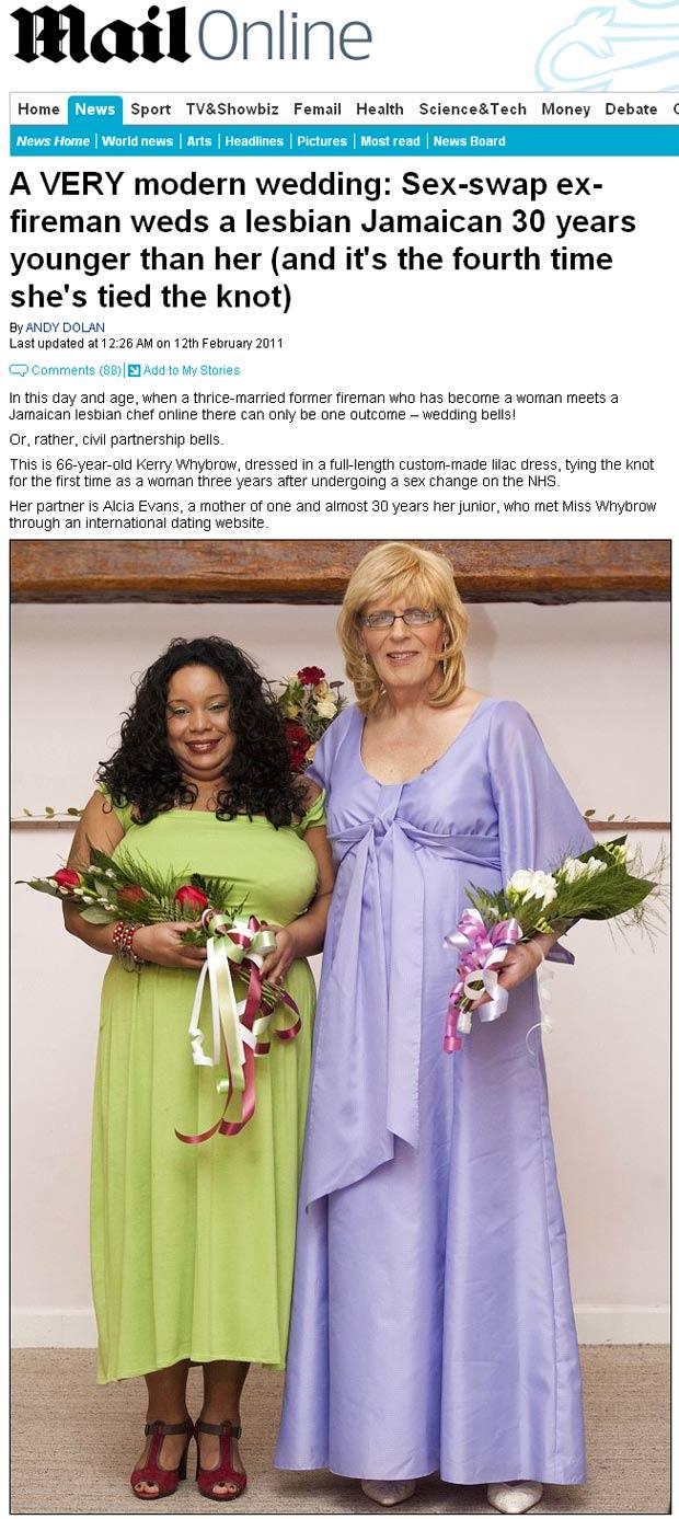 mulherjamaicacasamento1 Homem muda de sexo e se casa com lésbica