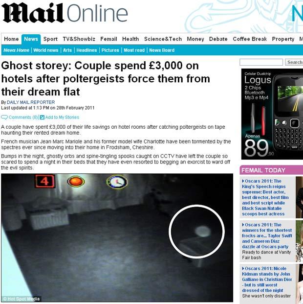 Suposto fantasma flagrado pelas câmeras de segurança. (Foto: Reprodução/Daily Mail)