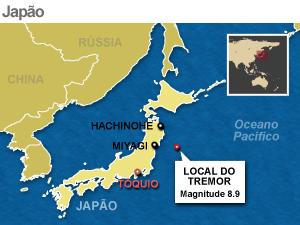 mapa terremoto japao (Foto: Arte G1)