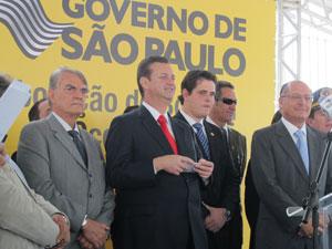 Alckmin, em evento ao lado de Kassab (Foto: Juliana Cardilli/G1)