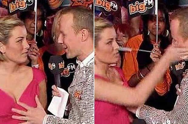 Em fevereiro de 2009, o apresentador alemão Hans Blomberg colocou a mão no peito da colega Susanka Bersin durante a apresentação ao vivo do programa 'Bundesvision Song Contest', do canal Pro Sieben, e levou um tapa na cara.  (Foto: Reprodução)