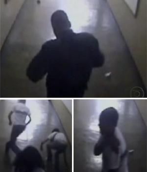 Imagens do circuito interno de escola mostram ação de atirador (Reprodução/TV Globo)