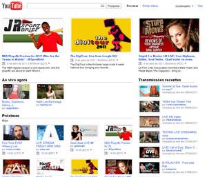 Site do YouTube Live (Foto: Reprodução)