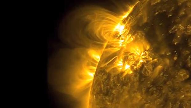 Imagens do sol capturada pelo satélite chamado Observador Dinâmico Solar (SDO, em inglês) (Foto: Nasa)