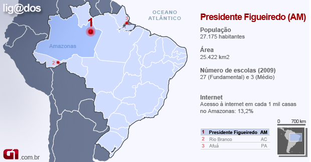 Mapa Presidente Figueiredo AM (Foto: Arte/G1)